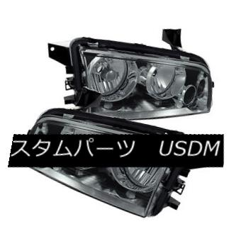 ヘッドライト Dodge 06-10 Charger Smoke Lens Replacement Headlights Pair Left + Right ドッジ06-10チャージャースモークレンズ交換ヘッドライトペア左+右