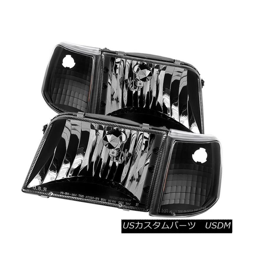ヘッドライト Ford 93-97 Ranger Black Housing Replacment Headlights w/Corner Sport XL XLT STX フォード93-97レンジャーブラックハウジング交換ヘッドライト/コーナースポーツXL XLT STX