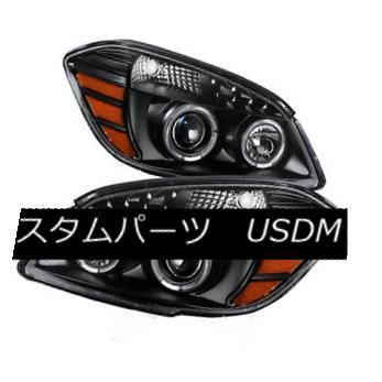 ヘッドライト Chevy 05-10 Cobalt 07-10 Pontiac G5 Black Twin Halo LED Projector Headlights シボレー05-10コバルト07-10ポンティアックG5ブラックツインハローLEDプロジェクターヘッドライト