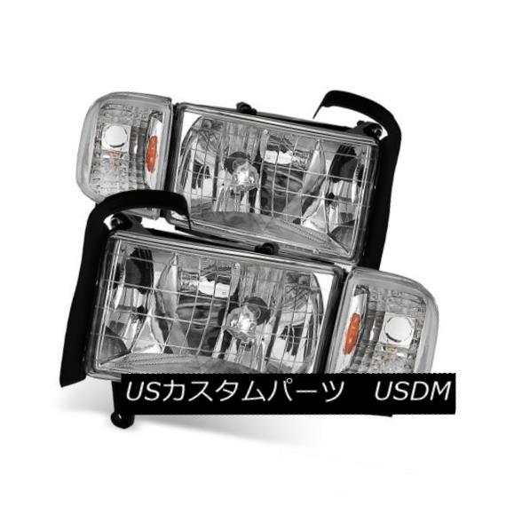 ヘッドライト Dodge 94-01 Ram 1500 2500 3500 Chrome Housing Replacement Headlights + Corner ドッジ94-01 Ram 1500 2500 3500クロームハウジング交換ヘッドライト+コーナー