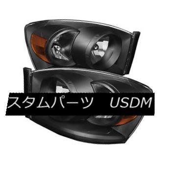 ヘッドライト Dodge 06-08 Ram 1500 06-09 2500 3500 Black Housing Replacement Headlights Pair ドッジ06-08ラム1500 06-09 2500 3500ブラックハウジング交換ヘッドライトペア