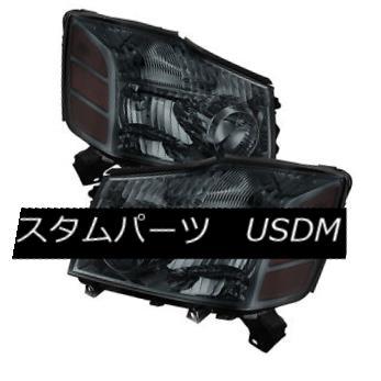 ヘッドライト Fit Nissan 04-15 Titan / 04-07 Armada Smoke Lens Replacement Headlights Pair Set フィット日産04-15タイタン/ 04-07アルマダ煙レンズ交換ヘッドライトペアセット