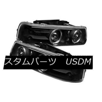 ヘッドライト Chevy 99-02 Silverado 00-06 Tahoe Suburban Black Dual Halo Projector Headlights Chevy 99-02 Silverado 00-06タホー郊外のブラックデュアルヘイロープロジェクターヘッドライト