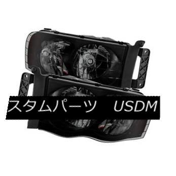 ヘッドライト Dodge 02-05 Ram 1500 2500 3500 Black Housing Smoke Lens Replacement Headlights ドッジ02-05 Ram 1500 2500 3500ブラックハウジングスモークレンズ交換用ヘッドライト