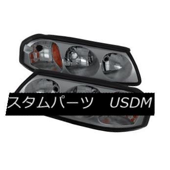 ヘッドライト Chevy 00-05 Impala Smoke Tinted Replacement Headlights Base LS SS Pair Set シェビー00-05インパラスモークトータル交換ヘッドライトベースLS SSペアセット