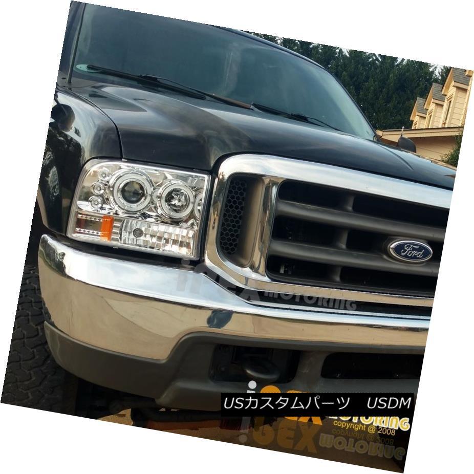ヘッドライト NEW 1999-2004 Ford F250/F350 [SUPER-DUTY] Halo LED Projector Headlights Chrome NEW 1999-2004 Ford F250 / F350 [スーパーデューティ] Halo LEDプロジェクターヘッドライトクローム
