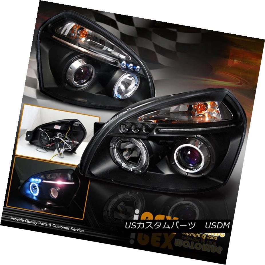 ヘッドライト For 2005 2006 2007 Hyundai Tucson Dual Halos Projector LED Headlights Black 2005年2006年の現代ツーソンデュアルハロープロジェクターLEDヘッドライトブラック用