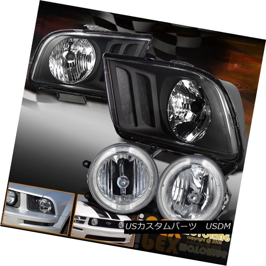 ヘッドライト New 2005-2009 Ford Mustang GT Black Headlights + Halo Fog Lights For Front Grill ニュー2005-2009フォードマスタングGTブラックヘッドライト+ハローフォグライティングフロントグリル用