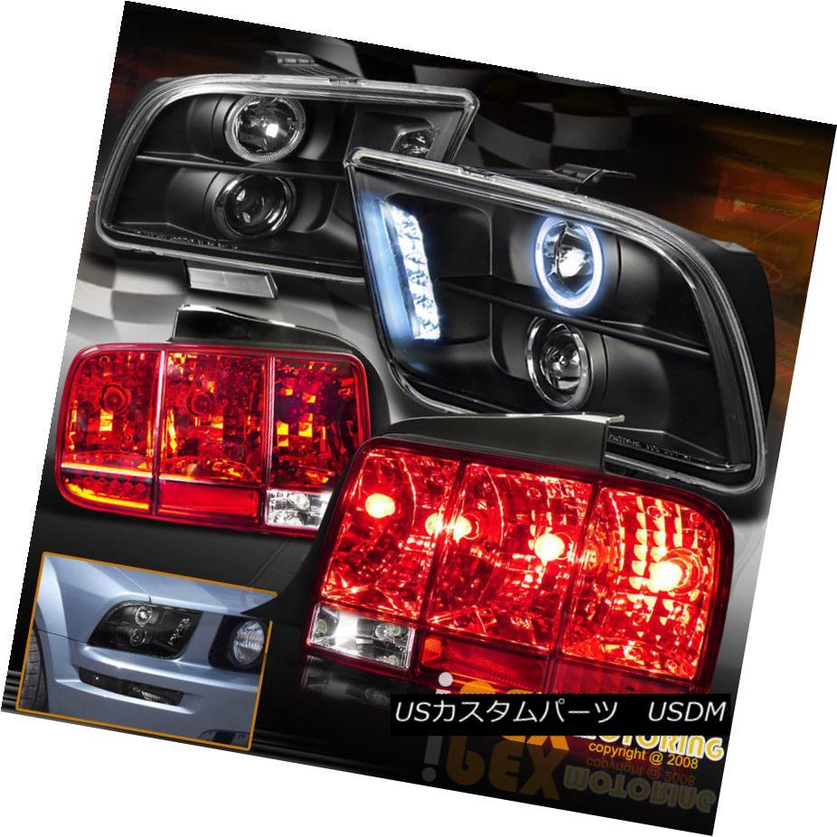 ヘッドライト 2005-09 Ford Mustang Halo Projector Black Headlights + Sequential Red Tail Light 2005-09 Ford Mustang Haloプロジェクターブラックヘッドライト+シーケンシャルレッドテールライト