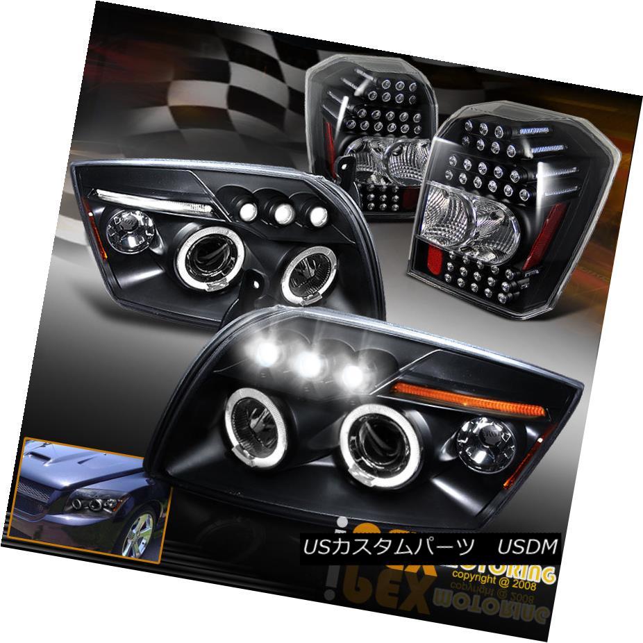 ヘッドライト 2007-2012 Dodge Caliber Halos Projector Black Headlights + LED Tail Light Black 2007-2012ダッジキャリバーハローズプロジェクターブラックヘッドライト+ LEDテールライトブラック