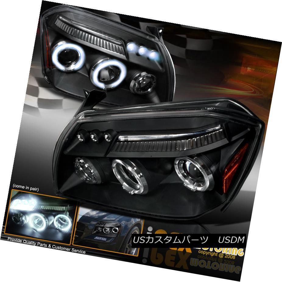 ヘッドライト 2005 2006 2007 Dodge Magnum [SE/SXT/RT/SRT8] Halo Projector LED Headlights Black 2005年2006年2007年ダッジマグナム[SE / SXT / RT / SRT  8] HaloプロジェクターLEDヘッドライトブラック