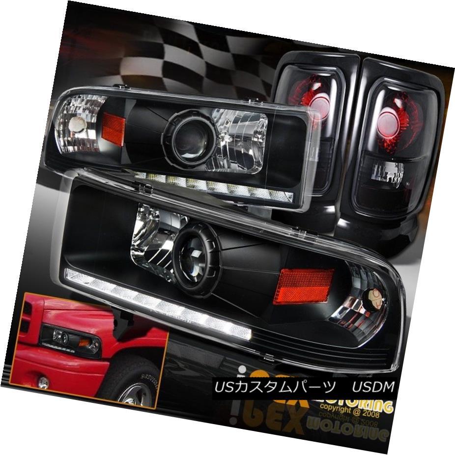 ヘッドライト Dodge Ram 1500 2500 3500 Projector LED Strip Black Headlights + Smoke Tail Light ダッジラム1500 2500 3500プロジェクターLEDストリップブラックヘッドライト+煙テールライト