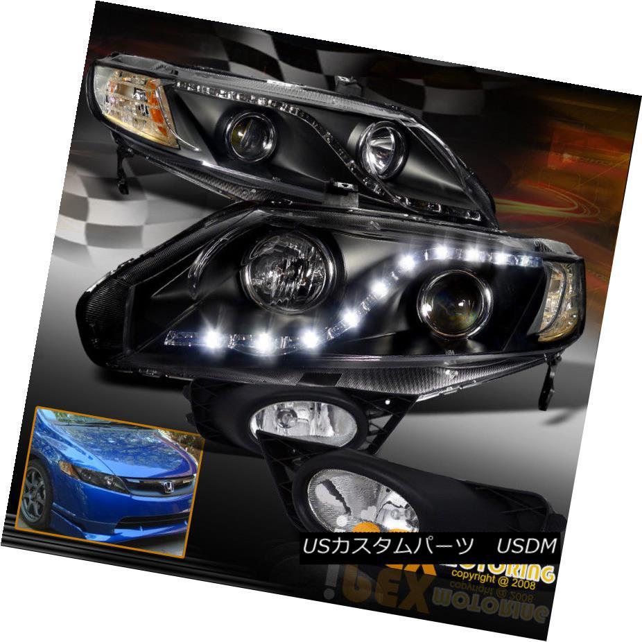 ヘッドライト (Bright LEDs) 2009 2010 2011 Honda Civic 4Dr Black Projector Head Light+Fog Lamp (明るいLED)2009年2010年ホンダシビック4Drブラックプロジェクターヘッドライト+フォグランプ