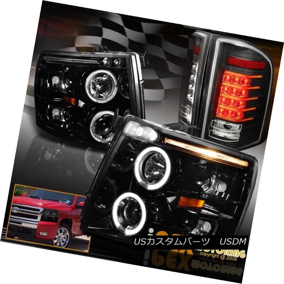 ヘッドライト CHEVY Silverado 1500 2500 Projector Headlights + Glow Strip LED Tail Light Black CHEVY Silverado 1500 2500プロジェクターヘッドライト+グローストリップLEDテールライトブラック
