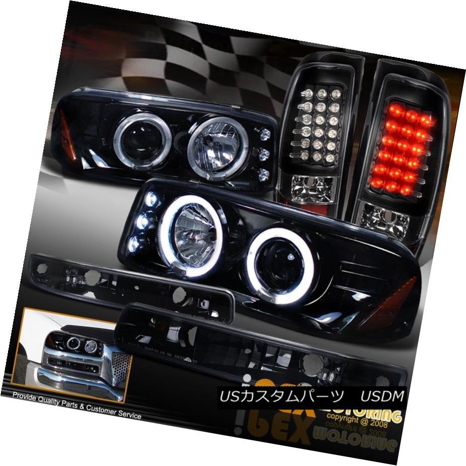 ヘッドライト 2004-2006 GMC Sierra Dual Halo Projector Shiny Black Headlights + LED Tail Light 2004-2006 GMC Sierraデュアルヘイロープロジェクターシャイニーブラックヘッドライト+ LEDテールライト