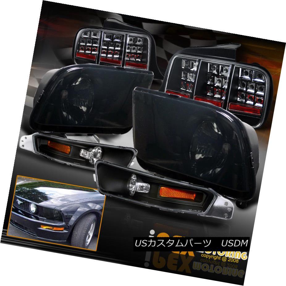 ヘッドライト 2005-2009 Ford Mustang GT Smoke Headlight W/ Black Signal Light + LED Tail Light 2005-2009フォードマスタングGTスモークヘッドライトW /ブラックシグナルライト+ LEDテールライト