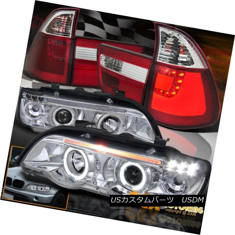 ヘッドライト New 00-03 BMW X5 E53 Halo Projector LED Chrome Head Lights + Red LED Tail Lamps New 00-03 BMW X5 E53 HaloプロジェクターLEDクロームヘッドライト+レッドLEDテールランプ