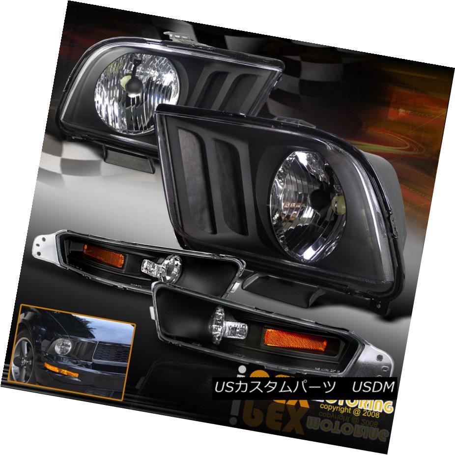 ヘッドライト NEW For 2005-2009 Ford Mustang GT Coupe Black Headlights + Bumper Signal Lights NEW 2005-2009 Ford Mustang GTクーペブラックヘッドライト+バンパーシグナルライト