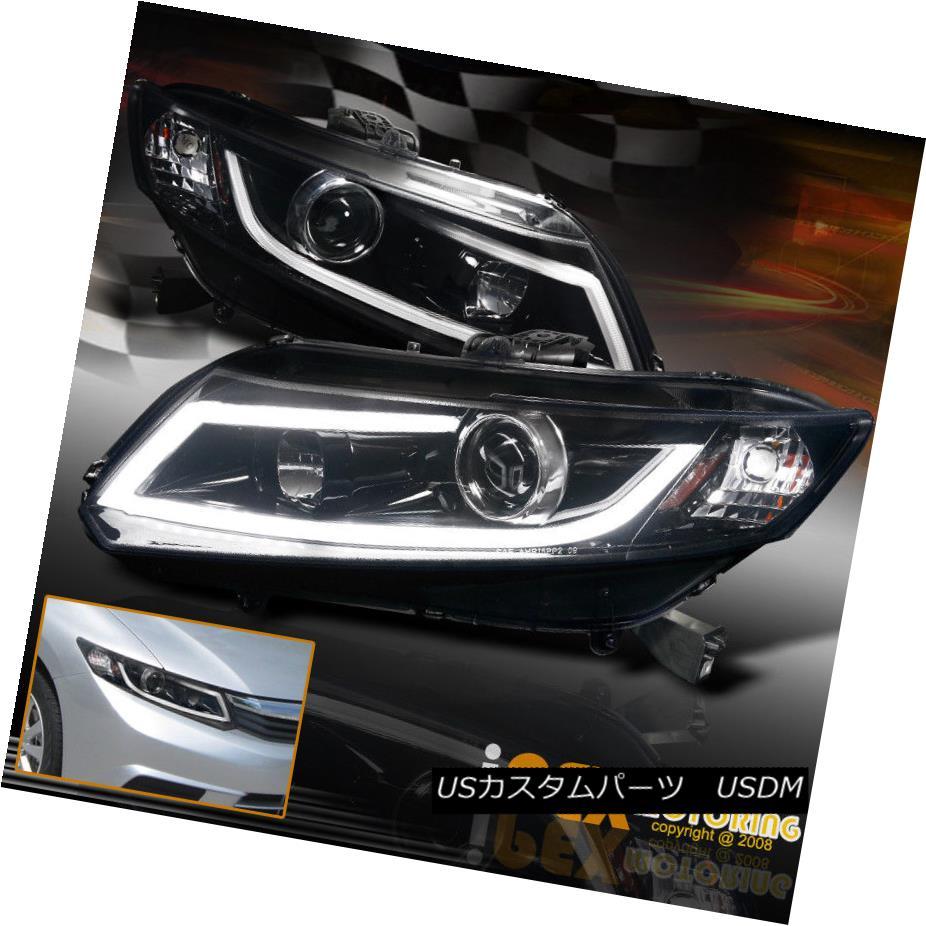 ヘッドライト 2012-2015 Honda Civic Projector Smoked-Black Headlights W/ Glow Light Strip 2012-2015 Honda CivicプロジェクタースモークブラックヘッドライトW /グローライトストリップ