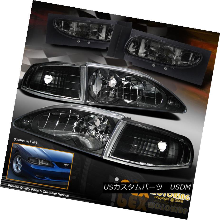 ヘッドライト 1994-1998 Ford Mustang GT Coupe Black Headlights+Corner Signals+Smoke Fog Light 1994-1998 Ford Mustang GTクーペブラックヘッドライト+ Cor  ner Signals + Smoke Fog Light