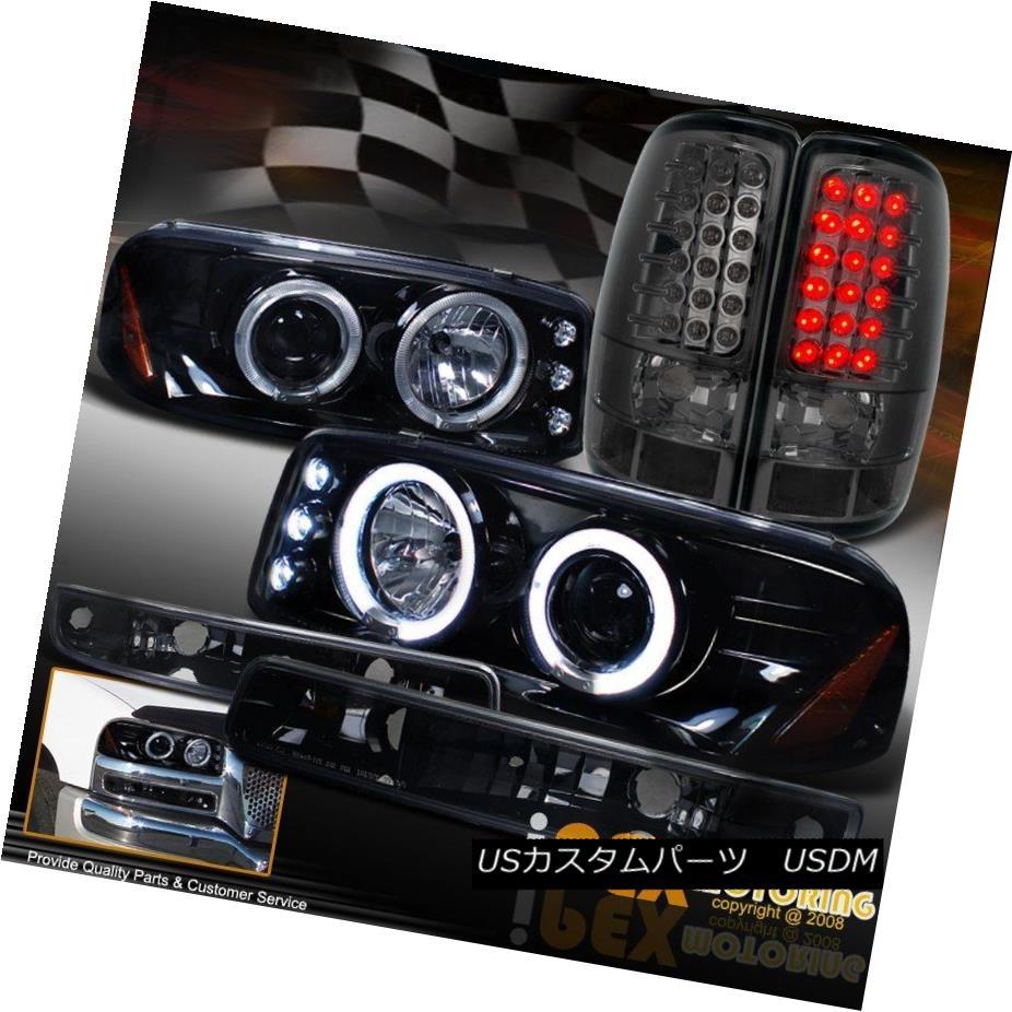 ヘッドライト GMC Yukon Projector Dark Shiny Black Head Light + Signal + LED Smoke Tail Light GMCユーコンプロジェクターダークシャイニーブラックヘッドライト+信号+ LEDスモークテールライト