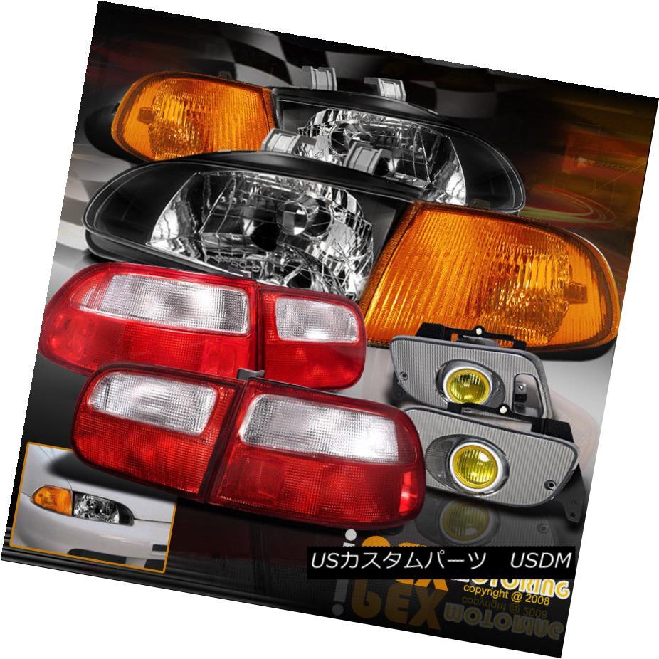 ヘッドライト 1992-1995 Civic COUPE JDM BLACK Headlights+Amber Corner+Yellow Fog+Tail Light EJ 1992-1995 Civic COUPE JDM BLACKヘッドライト+アンバー コーナー+イエローフォグ+テールライトEJ