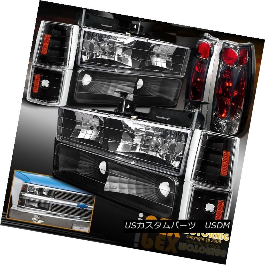 ヘッドライト 88-93 GMC Chevy Silverado Suburban Black Headlights + Signals + Smoke Tail Light 88-93 GMC Chevy Silverado郊外のブラックヘッドライト+信号+煙テールライト
