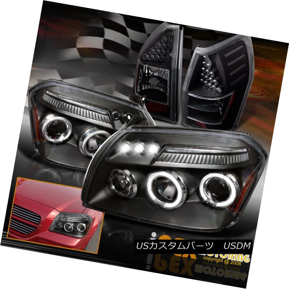 ヘッドライト 2005 2006 2007 Dodge Magnum Halo Projector Headlights + LED Tail Lights Black 2005 2006 2007 Dodge Magnum Haloプロジェクターヘッドライト+ LEDテールライトブラック