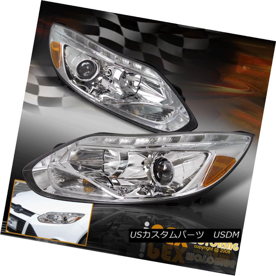 ヘッドライト For 2012 2013 2014 Ford Focus chrome Projector Headlights+LED Signal DRL Strip 2012年2013年2014年フォードフォーカスクロームプロジェクターヘッドライト+ LED信号DRLストリップ