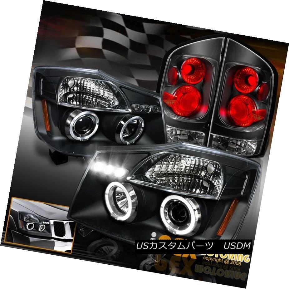 ヘッドライト For 2005 2006 2007 Nissan Armada Halo Projector LED Headlight + Tail Light Black 2005年2006年日産アルマダハロープロジェクター用LEDヘッドライト+テールライトブラック