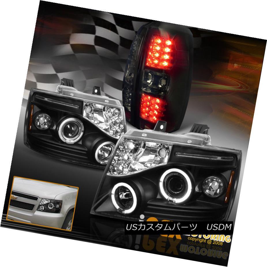 ヘッドライト 2007-2014 Chevy Avalanche Halo Projector Black Headlights + LED Tail Light Smoke 2007年?2014年シボレーアバランシェヘイロープロジェクターブラックヘッドライト+ LEDテールライトスモーク
