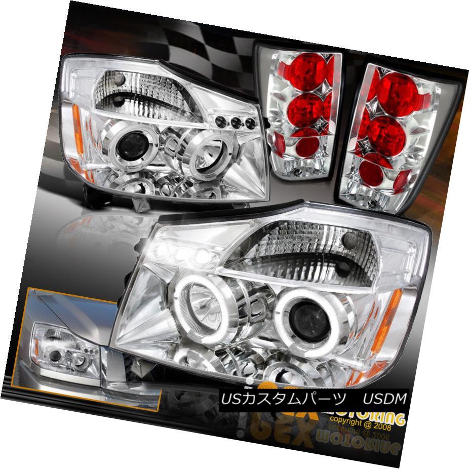 ヘッドライト For 2004-2014 Nissan Titan Combo: Halo Projector Chrome Headlights + Tail Lights 日産タイタンコンボ:ヘイロープロジェクタークロームヘッドライト+テールライト