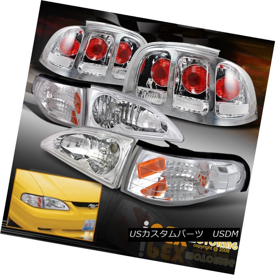 ヘッドライト 1996 1997 1998 Ford Mustang Chrome Headlights W/ Corner & Cobra Style Tail Light 1996 1997 1998フォードマスタングクロームヘッドライトW /コーナー& コブラスタイルテールライト