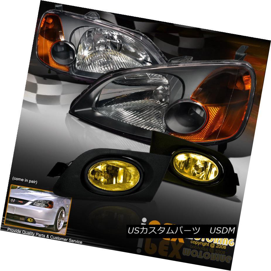 ヘッドライト NEW Combo For 2001-2003 Honda Civic JDM Black Headlights + Yellow Fog Light Kit 2001-2003ホンダシビックJDMブラックヘッドライト+イエローフォグライトキット用NEWコンボ