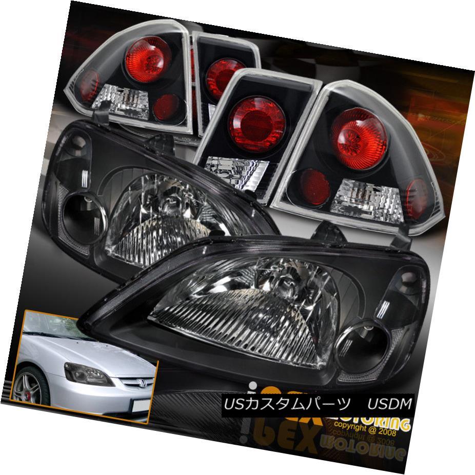 ヘッドライト 2001 2002 2003 Honda Civic 4Dr Sedan JDM Black Headlights + Black Tail Lights 2001 2002 2003ホンダシビック4DrセダンJDMブラックヘッドライト+ブラックテールライト