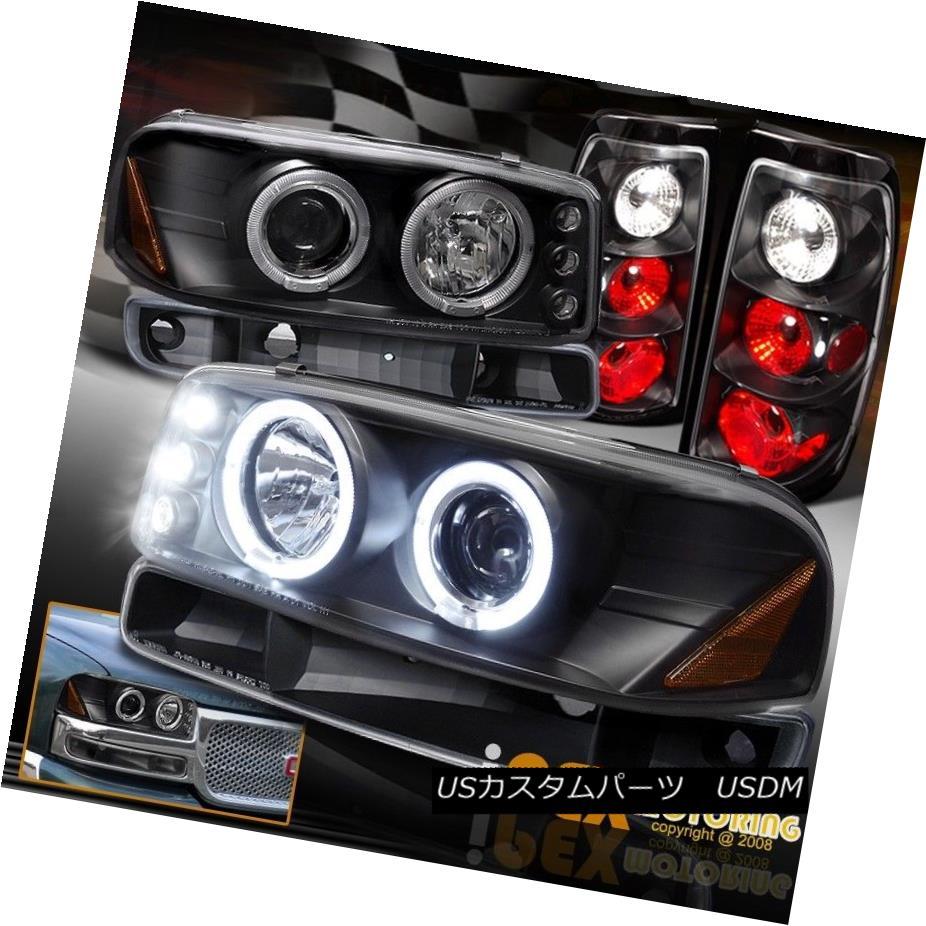 ヘッドライト 04-06 GMC Sierra 1500 2500HD Halo LED Black Headlight + Tail Light +Signal Light 04-06 GMC Sierra 1500 2500HDハローLEDブラックヘッドライト+テールライト+シグナルライト