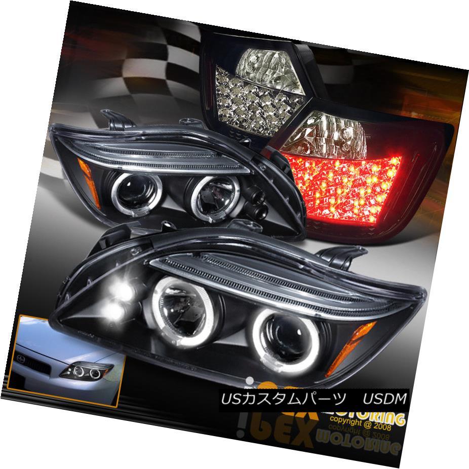ヘッドライト 04-07 Scion TC Halo Projector Black Headlights + LED Jet Black Smoked Tail Light 04-07シオンTCハロープロジェクターブラックヘッドライト+ LEDジェットブラックスモークテールライト