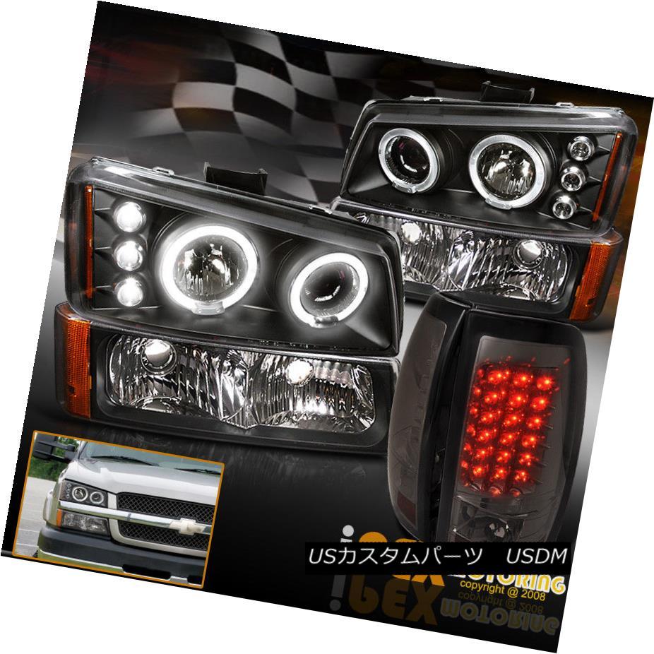 ヘッドライト For 03-06 CHEVY Silverado Halo Projector Black Headlights + LED Tail Light Smoke 03-06 CHEVY Silverado Haloプロジェクターブラックヘッドライト+ LEDテールライトスモーク