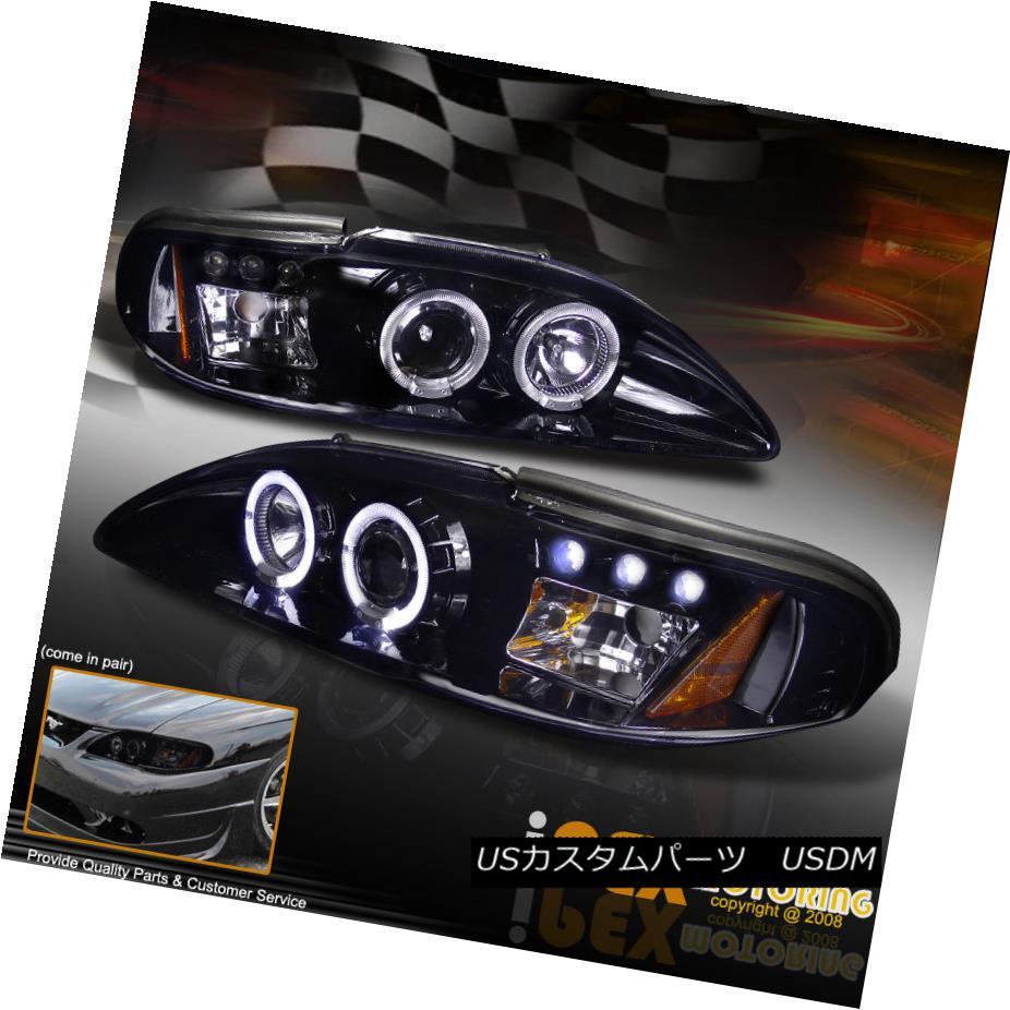 ヘッドライト 1994-1998 Ford Mustang GT Cobra V6 Halo Projector LED Headlights Shiny Black 1994-1998フォードマスタングGTコブラV6ハロープロジェクターLEDヘッドライトシャイニーブラック