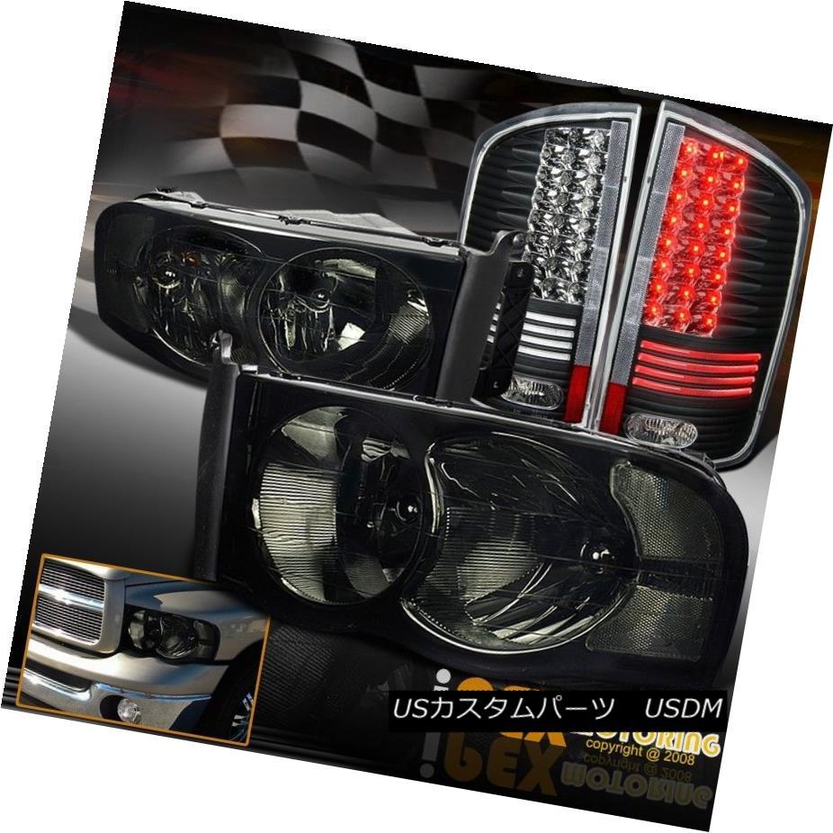 ヘッドライト 2002-2005 Dodge Ram 1500 2500 3500 Smoke Headlights + Glow Tube LED Tail Lights 2002-2005 Dodge Ram 1500 2500 3500スモークヘッドライト+グローチューブLEDテールライト