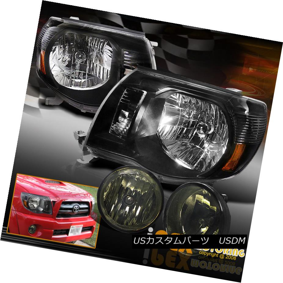 ヘッドライト For 2005-2011 Toyota Tacoma OE Style Black Headlights W/ Smoke Fog Lights Kit トヨタタコマOEスタイルブラックヘッドライトW /スモークフォグライトキット
