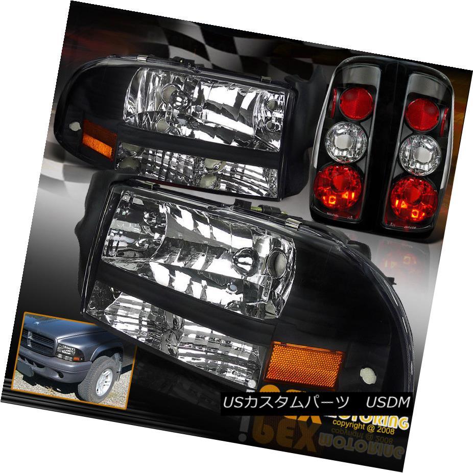 ヘッドライト 1997-2004 Dodge Dakota Black Headlight Corner Signal Light + Tail Lights Black 1997-2004 Dodge Dakotaブラックヘッドライトコーナー信号ライト+テールライトブラック