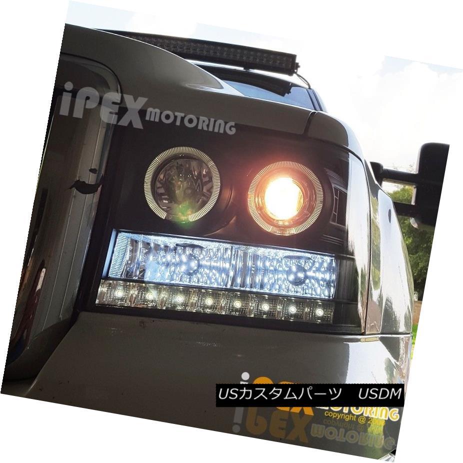 ヘッドライト 2007-2013 GMC Sierra 1500 2500HD [LED DRL Bar] Halo Projector Black Headlights 2007-2013 GMC Sierra 1500 2500HD [LED DRLバー]ハロープロジェクターブラックヘッドライト