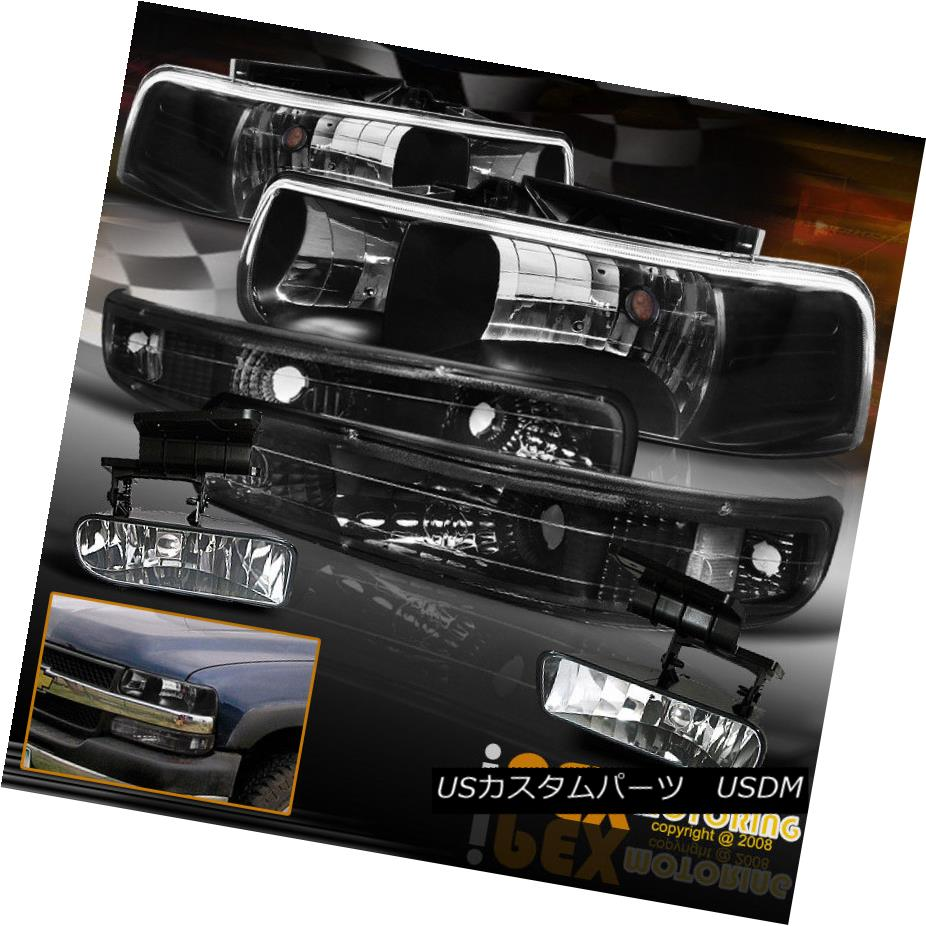 ヘッドライト Chevy Tahoe Silverado Suburban Black Euro Head Light W/ Bumper Signals + Fog シボレータホシルバラード郊外ブラックユーロヘッドライトW /バンパーシグナル+フォグ