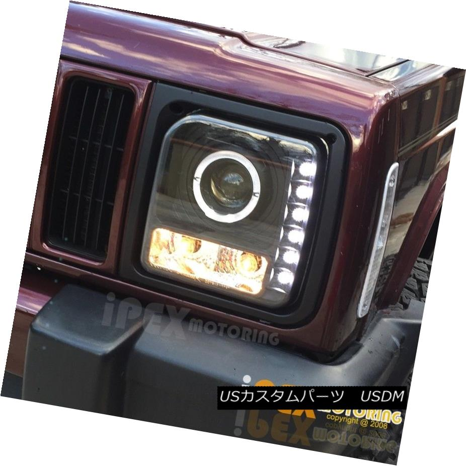 ヘッドライト 1997-2001 Jeep Cherokee Halo Projector LED Black Headlight + Corner Signal Light 1997-2001ジープチェロキーハロープロジェクターLEDブラックヘッドライト+コーナー信号ライト