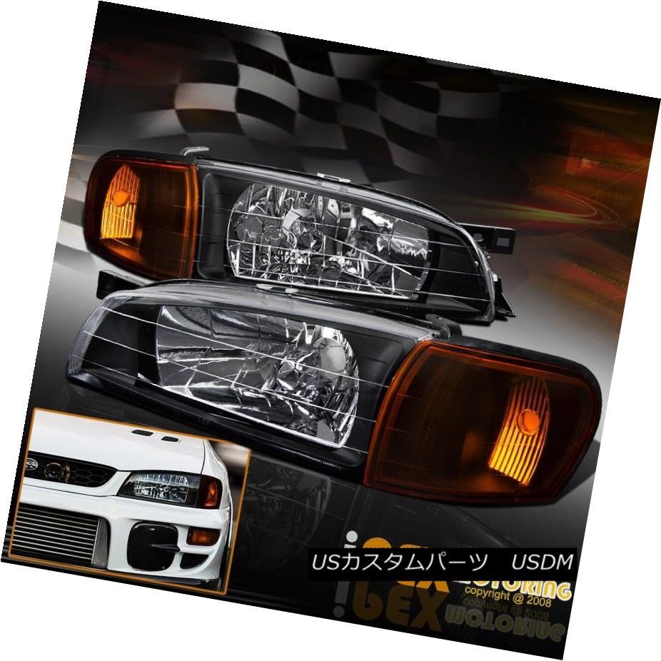 ヘッドライト For 95-01 Subaru Impreza JDM Black Head Lights + Amber Corner Signal Lights Lamp 95-01スバルインプレッサJDMブラックヘッドライト+アンバーコーナー信号ランプ