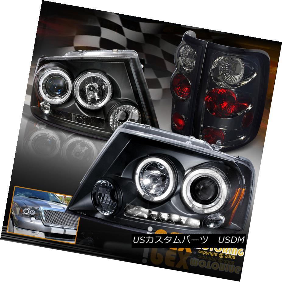 ヘッドライト 2004-2008 F150 Black Dual HALO Projector Headlights W/ Smoke Euro Tail Lights 2004-2008 F150ブラックデュアルハロープロジェクターヘッドライトW / Smokeユーロテールライト