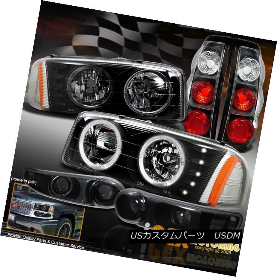 ヘッドライト 2002-2003 GMC Sierra 1500 Denali Halo LED Headlight + Signal + Tail Light Black 2002-2003 GMC Sierra 1500 Denali Halo LEDヘッドライト+信号+テールライトブラック