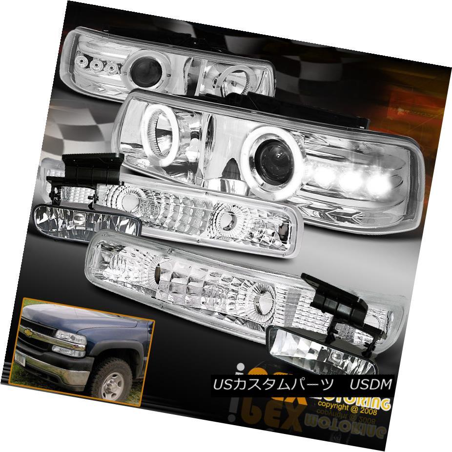 ヘッドライト For Chevy Silverado Suburban Halo Projector LED Headlight W/ Signals + Fog Light シェビーシルバラード郊外のヘイロープロジェクターLEDヘッドライトW /信号+フォグライト