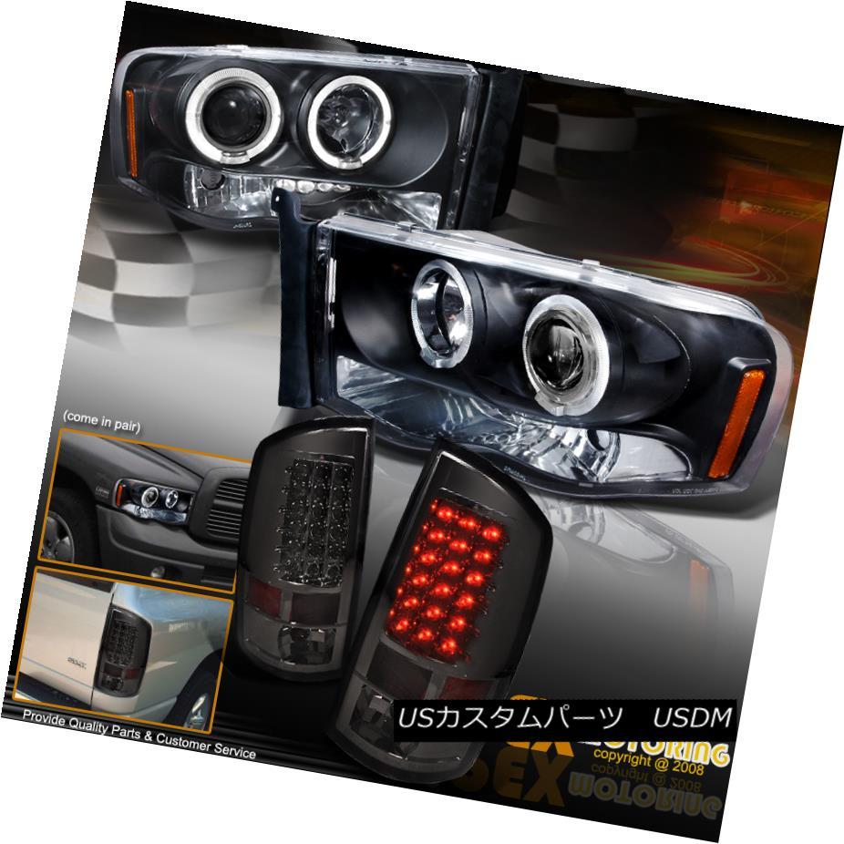 ヘッドライト 2002-2005 Dodge Ram Dual Halo Projector Black Headlights + LED Tail Lights Smoke 2002-2005ダッジラムデュアルヘイロープロジェクターブラックヘッドライト+ LEDテールライトスモーク